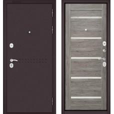 Входная дверь - MASS-90 (МР Букле шоколад R-4 / Дуб дымчатый GR-3 Lakobel Cristal )